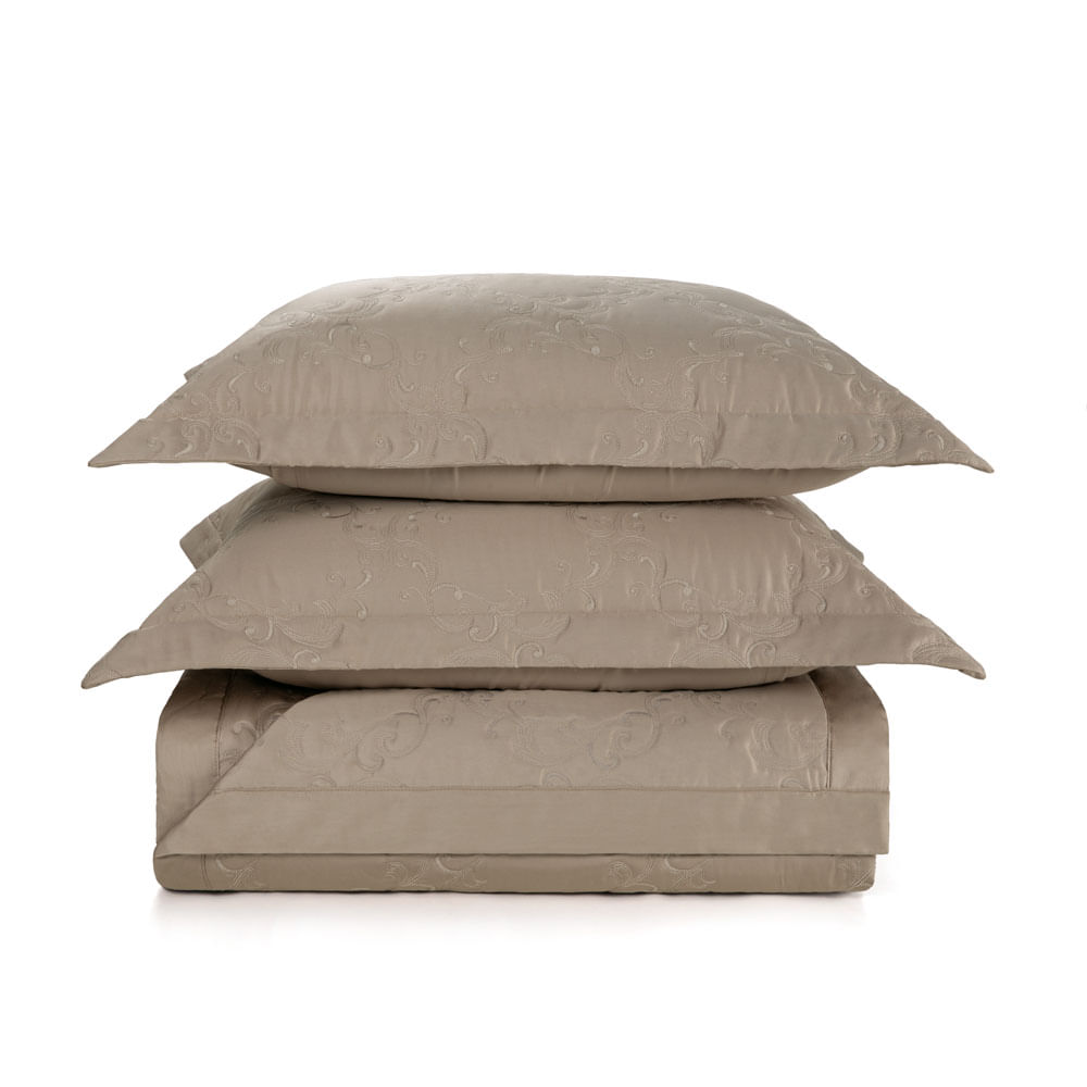 Colcha-King-Trussardi-2-Porta-Travesseiros-300-Fios-Cetim-Parione-Nocciola-e-Legno