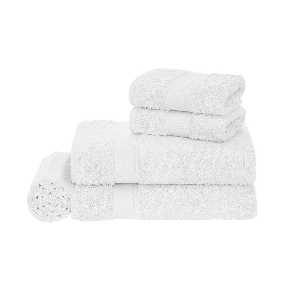Jogo-de-Banho-5-pecas-Trussardi-100--Algodao-Egipcio-Egitto-Elegance-Branco-Branco