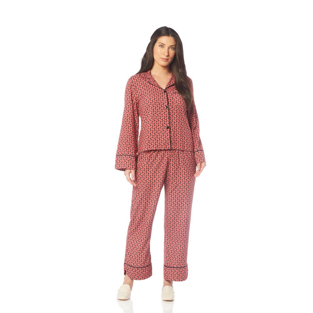 Pijama-Feminino-de-Manga-Longa-com-Calca-Capri-Trussardi-Ornela