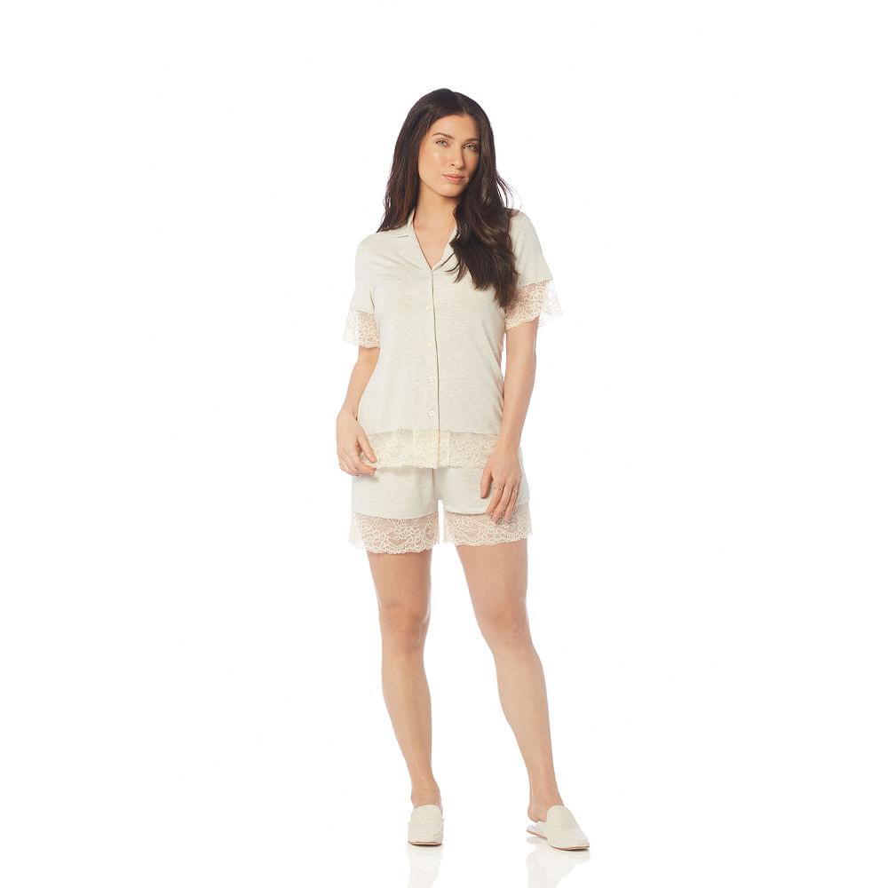 Pijama-Feminino-de-Manga-Curta-com-Short-Trussardi-Eugenia-Lino
